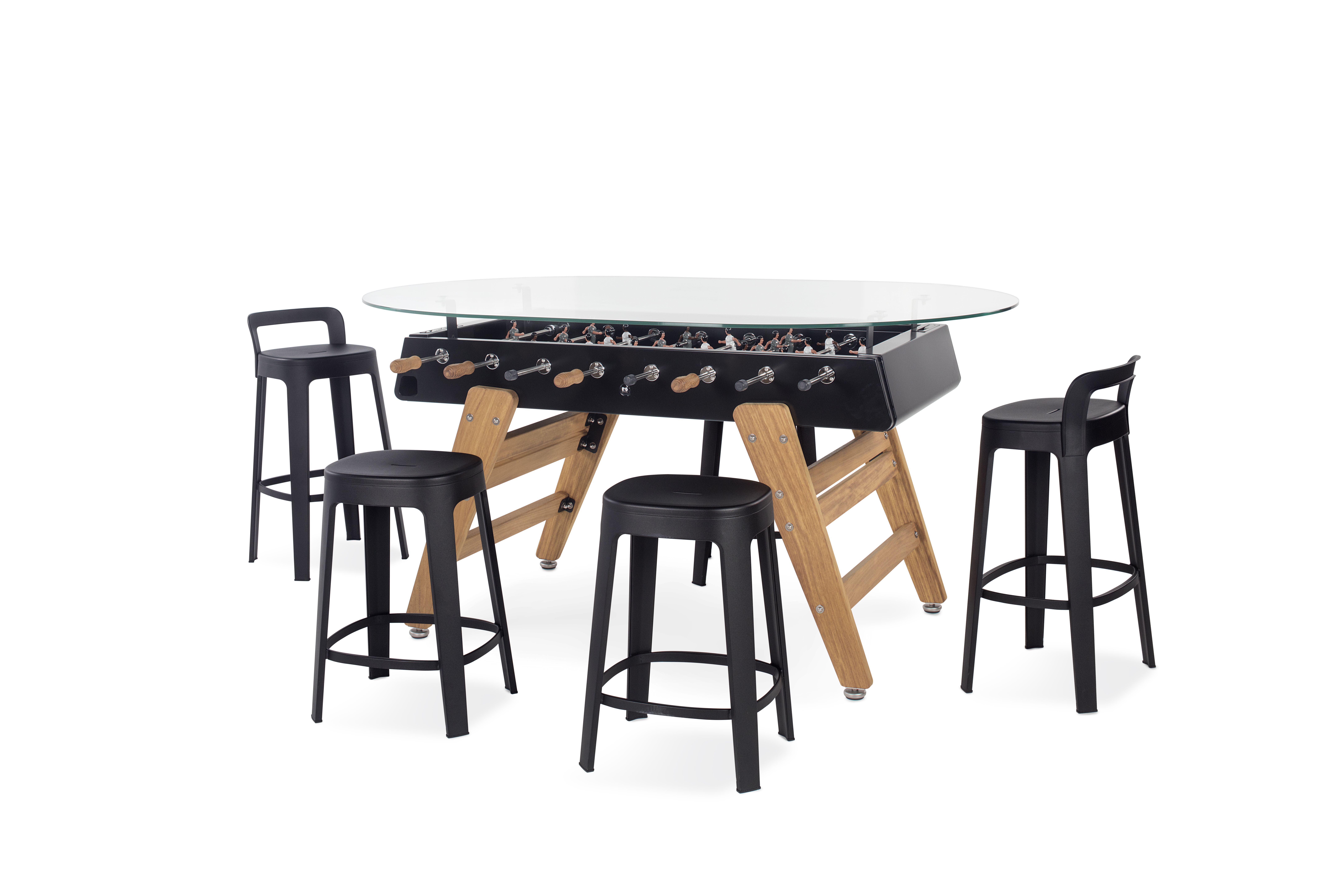 Designkicker RS#3 Wood Dining mit Glasplatte oval von RS Barcelona