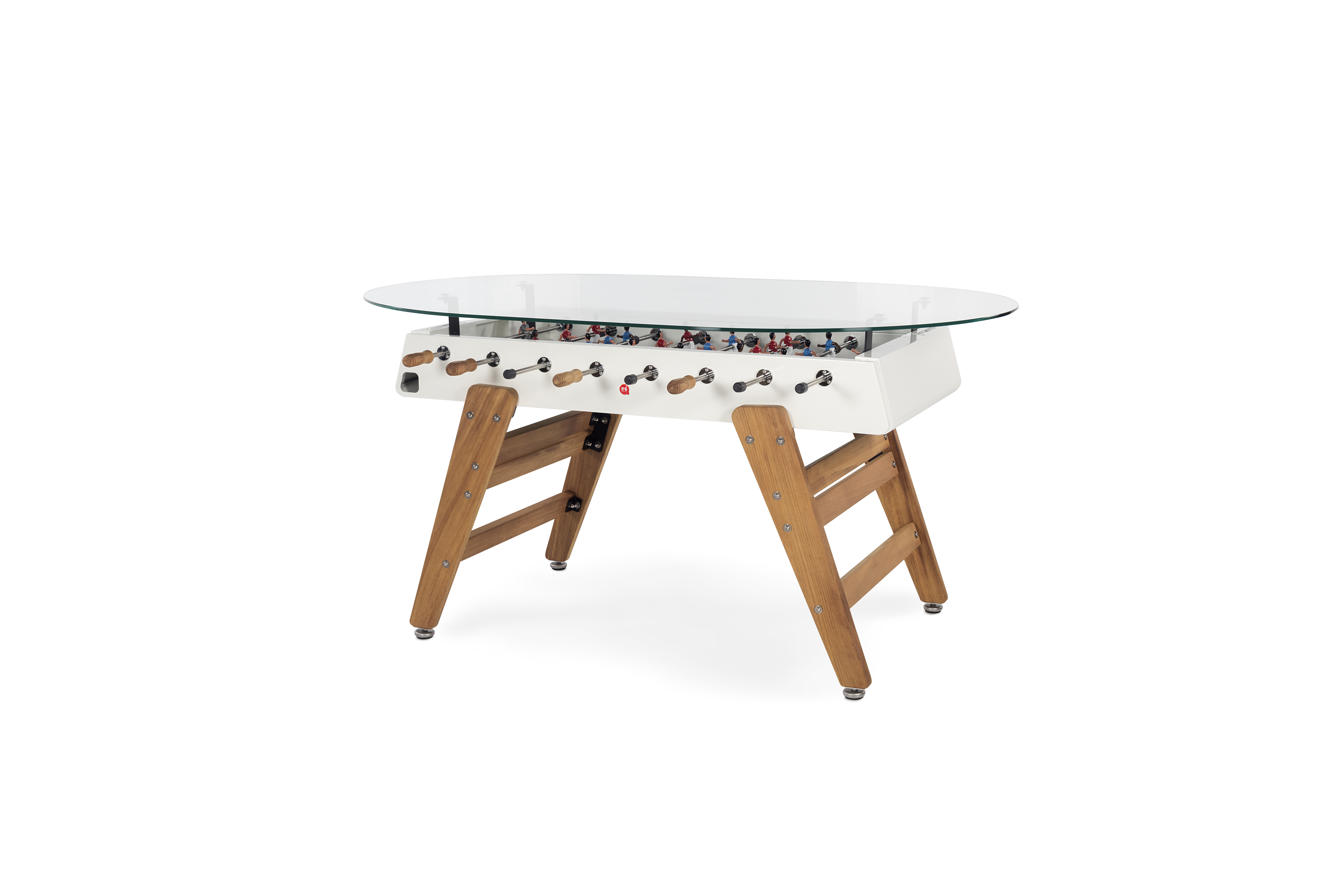 Designkicker RS#3 Wood Dining mit Glasplatte oval von RS Barcelona (in-&outdoor)