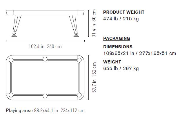 "Billardtisch ""Pool"" - Design Diagonal American 8"" von RS Barcelona"