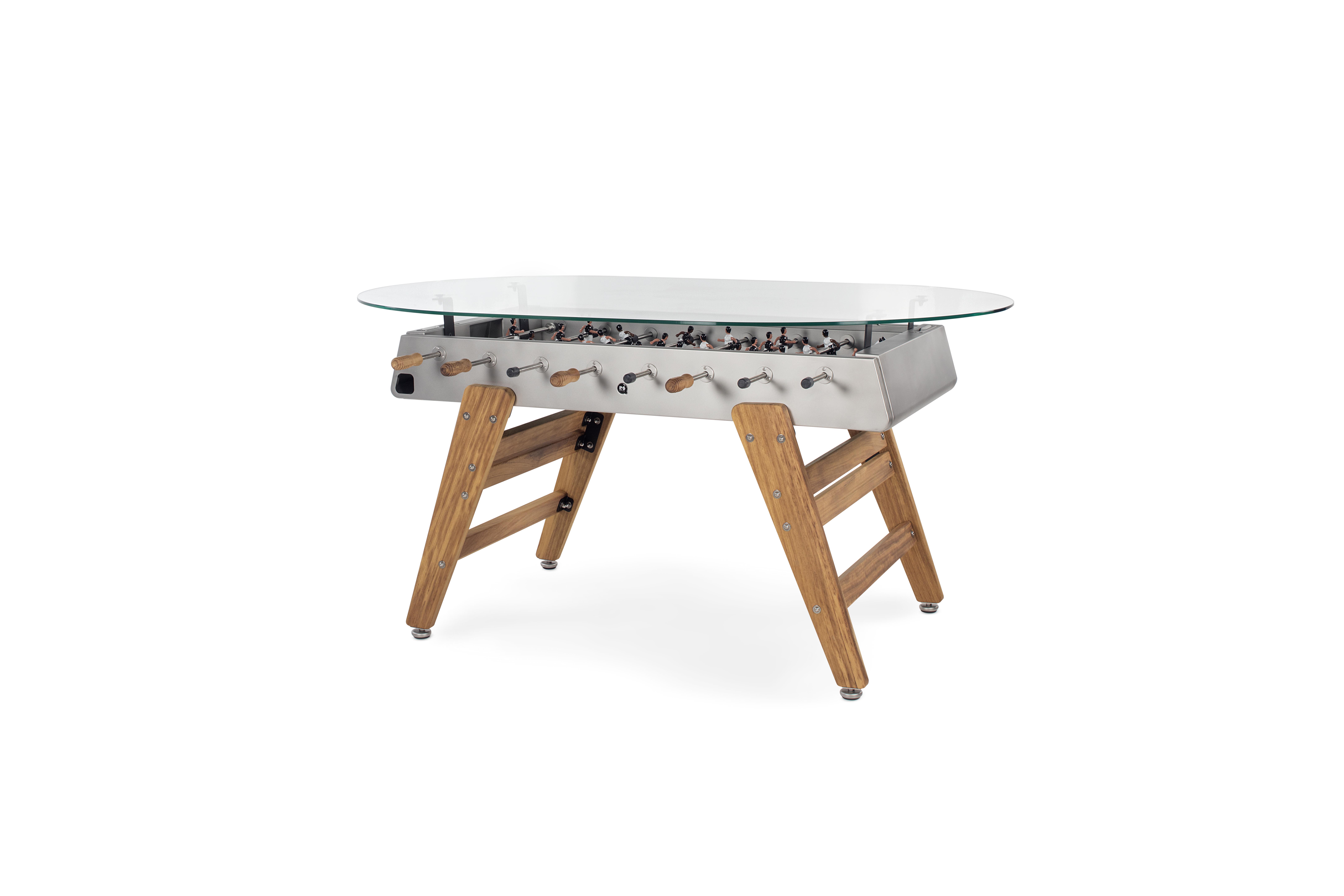 Designkicker RS#3 Wood Dining mit Glasplatte oval von RS Barcelona (in-&outdoor)